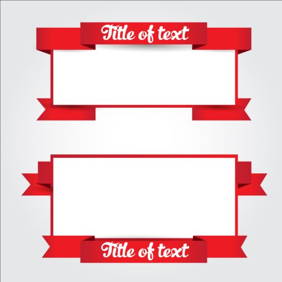 Red ribbon with blank banners vector - Vector Banner ...