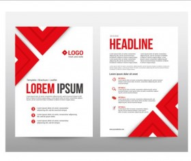 Red style brochure cover template vector