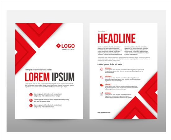 Red style brochure cover template vector vector cover for Red brochure template