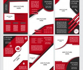 Red with black brochure cover template vector