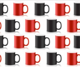 Red with black mug seamless pattern vector