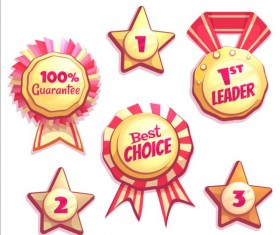 Retro badges with labels vector set 01
