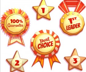 Retro badges with labels vector set 02