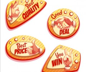 Retro badges with labels vector set 05