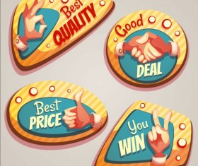 Retro badges with labels vector set 06