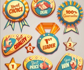 Retro badges with labels vector set 07