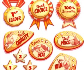Retro badges with labels vector set 08
