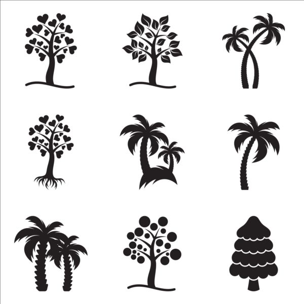 Rropical tree root icons vector