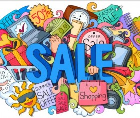 Sale with shopping doodle vector 01