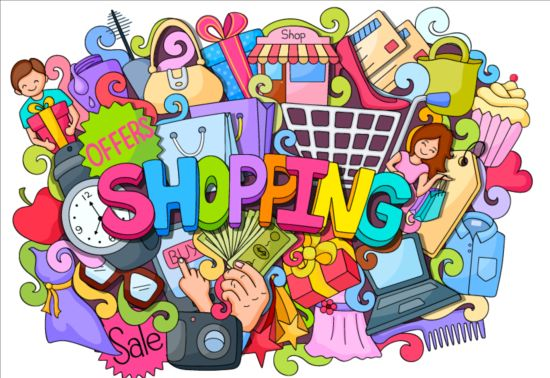 Sale with shopping doodle vector 02