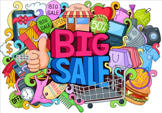 Sale with shopping doodle vector 03
