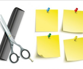 Scissors Comb with colored paper vector 01