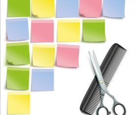 Scissors Comb with colored paper vector 02