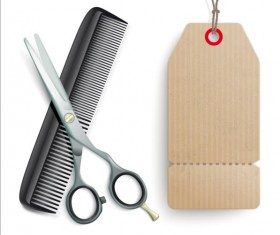 Scissors Comb with tags vector 01