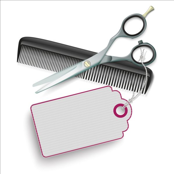 Scissors Comb with tags vector 02