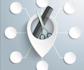 Scissors Comb with white infographic vector 01
