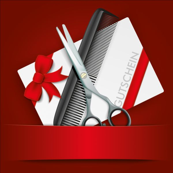 Scissors comb with gift card vector