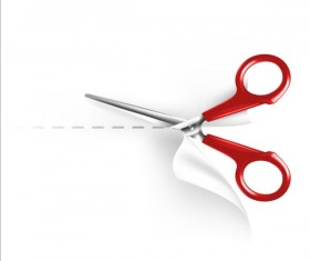 Scissors with white paper vector 01
