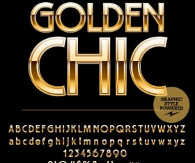 Shining golden number with alphabets vector 02