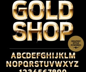 Shining golden number with alphabets vector 06