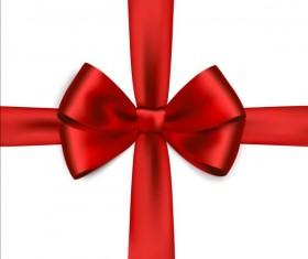 Shiny red ribbon bows vector set 02
