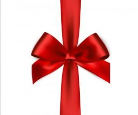 Shiny red ribbon bows vector set 03