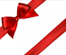 Shiny red ribbon bows vector set 04