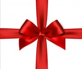 Shiny red ribbon bows vector set 05