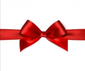 Shiny red ribbon bows vector set 06