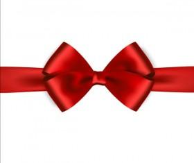 Shiny red ribbon bows vector set 07
