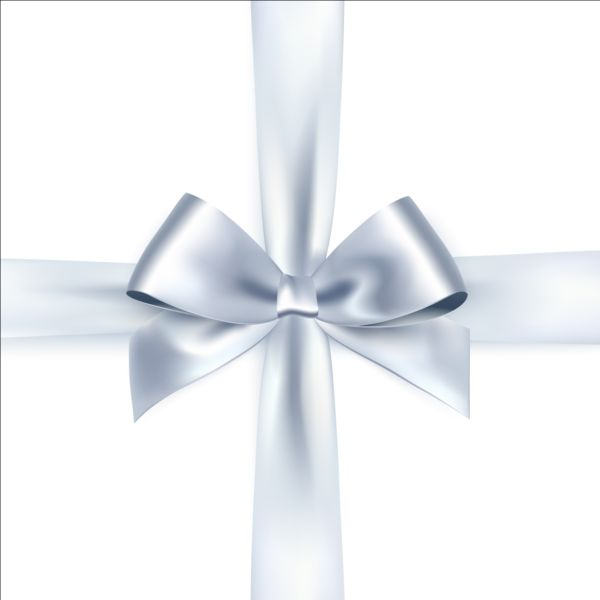 Silver ribbon bows vector 01 free download  Silver ribbon b...