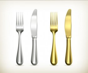 Silver with golden knife and fork