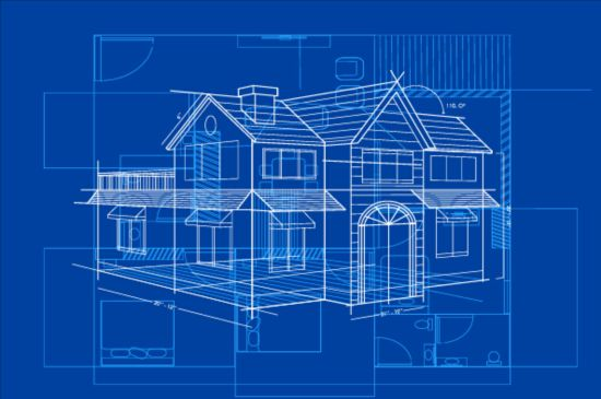Simple blueprint building vectors design 05 vector Blueprint builder free