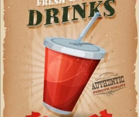 Soda poster vintage vector