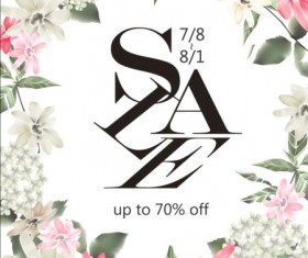 Spring sale poster with flowers vector 01