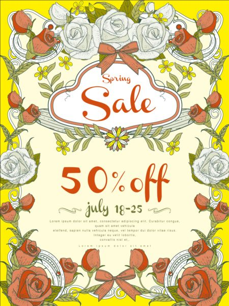 Spring Sale Poster With Flowers Vector 05 Vector Cover