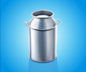 Stainless steel milk pail vector