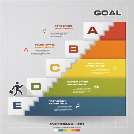 Stairs flight with business infographic vector 02