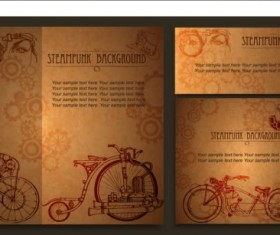 Steampunk cards retro vector