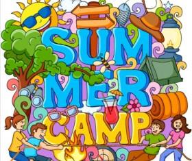 Summer camp doodle vector illustration 01