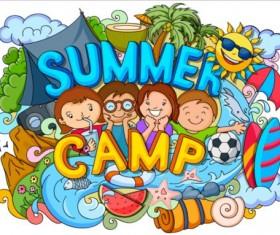 Summer camp doodle vector illustration 02