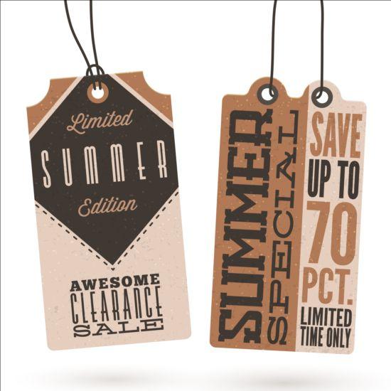 Summer sale label set vectors 03