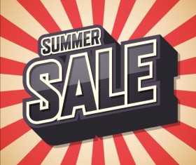 Summer sale text with cartoon background vector
