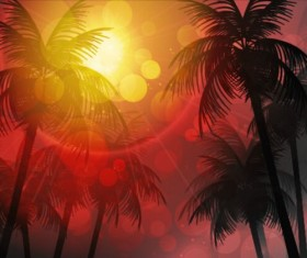 Sunlight with palm trees vector background 01