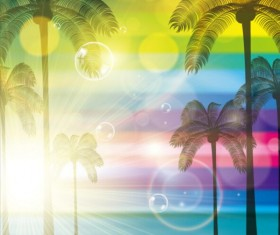 Sunlight with palm trees vector background 02