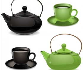 Teapot and cup black with blue vector
