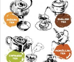 Teapot hand drawn vector material