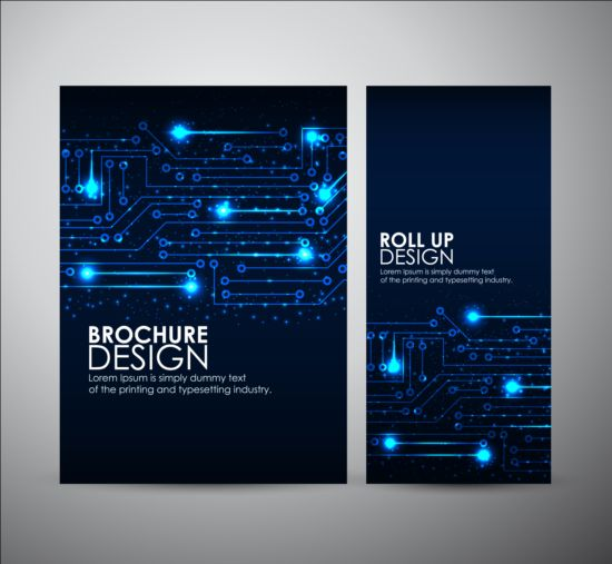 technical brochure template - tech style brochure cover template vector 01 vector