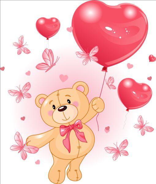 Teddy bear with heart balloon vector