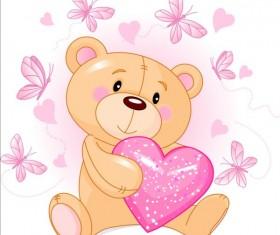 Teddy bear with pink heart vector 01